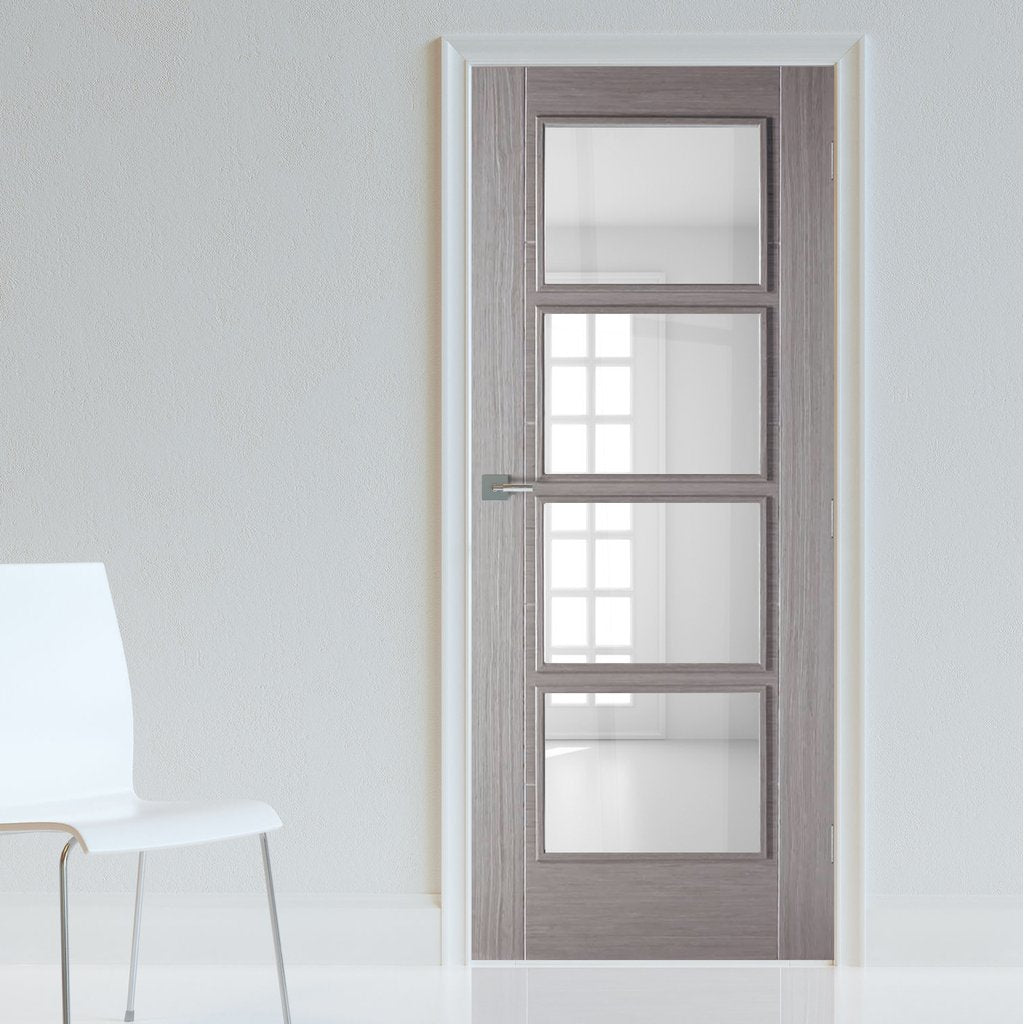 Bespoke Light Grey Vancouver Door - Clear Glass - Prefinished