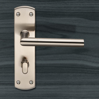 Image: Steelworx CSLP1162T Mitred Bathroom Lever Lock Handles - 2 Finishes