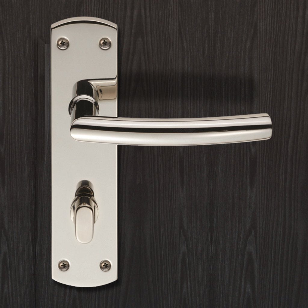 Steelworx CSLP1167T Arched Bathroom Backplate Lever Lock Handles - 2 Finishes
