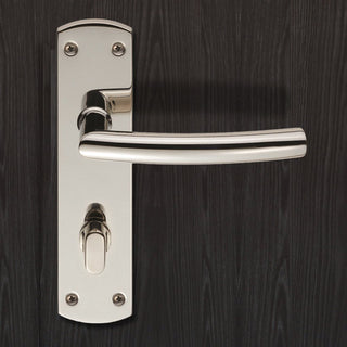 Image: Steelworx CSLP1167T Arched Bathroom Backplate Lever Lock Handles - 2 Finishes