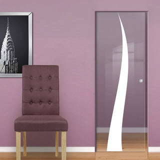 Image: Roslin 8mm Clear Glass - Obscure Printed Design - Single Absolute Pocket Door