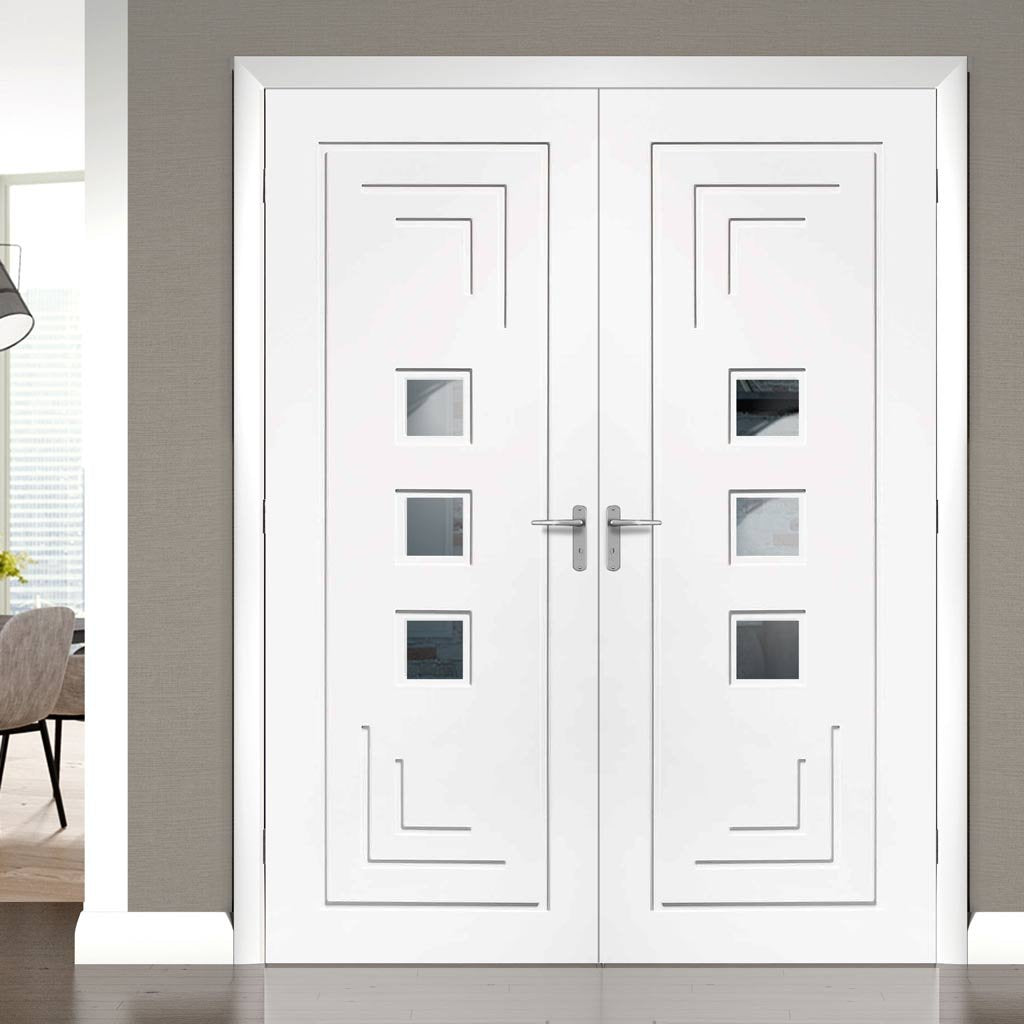 Bespoke Altino White Primed Glazed Door Pair