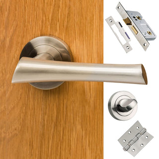 Image: Corsica Mediterranean Bathroom Lever On Rose - Satin Nickel Handle Pack