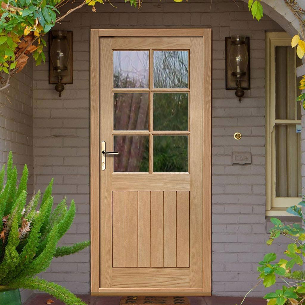 Cottage 6L Oak External Door and Frame Set with Fittings - Clear Double Glazing