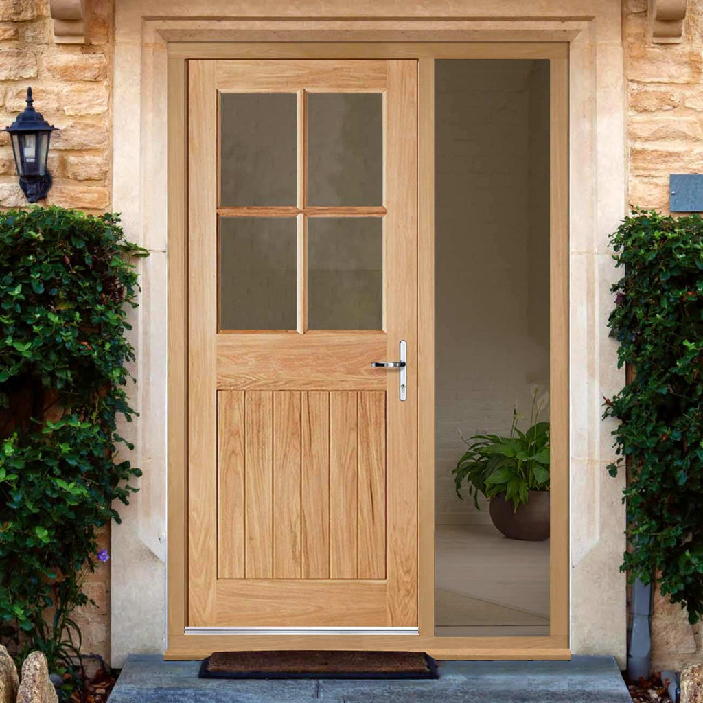 Cottage 4L Exterior Oak Door and Frame Set - Clear Double Glazing - One Unglazed Side Screen, From LPD Joinery