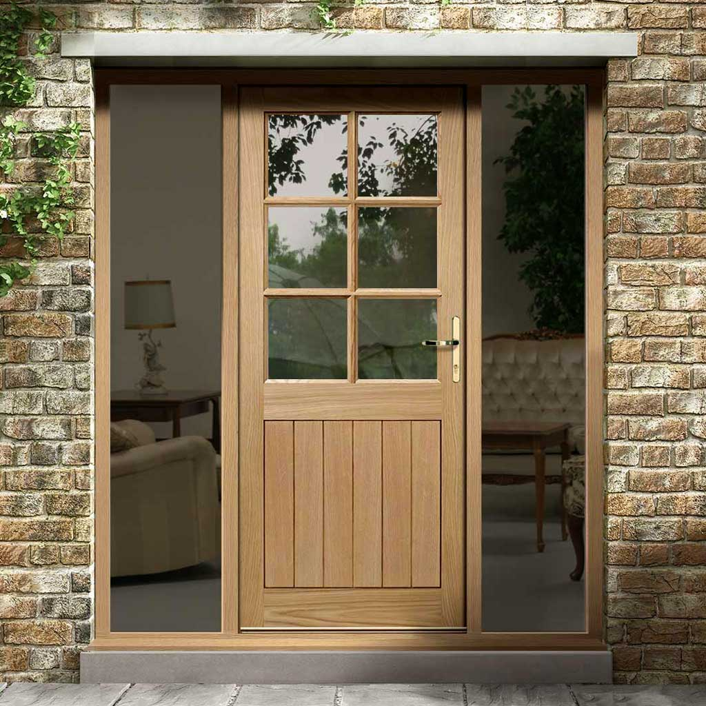 Cottage 6L Exterior Oak Door and Frame Set - Clear Double Glazing - Two Unglazed Side Screens, From LPD Joinery