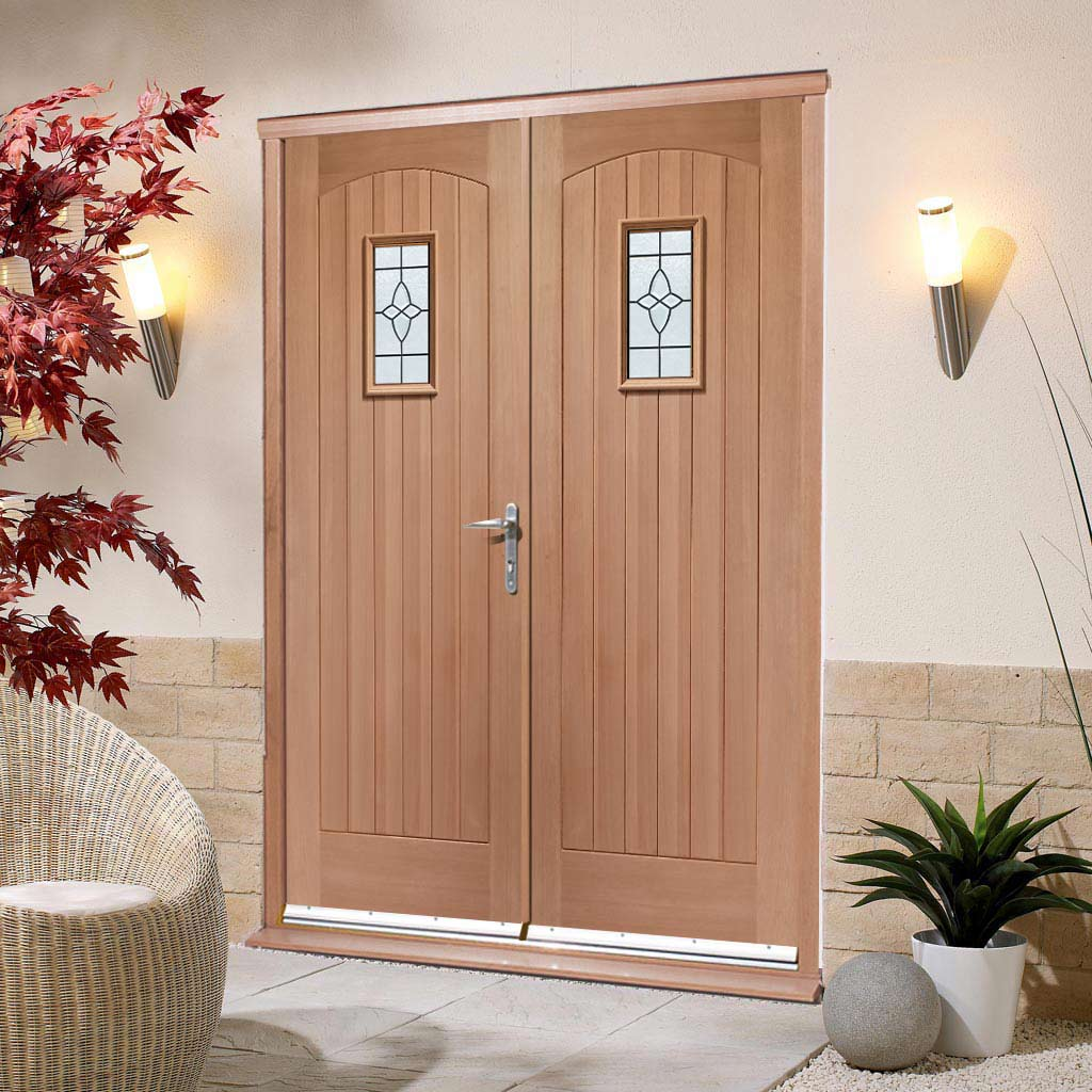 Cottage External Mahogany Double Door and Frame Set - Bevelled Tri Glazed
