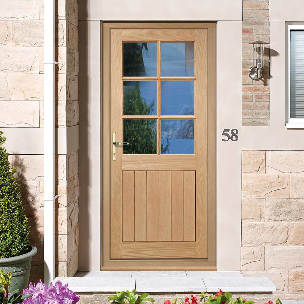 quality design afb53 d09f0 Cottage 6L Exterior Oak Door and Frame Set - Clear Double Glazing