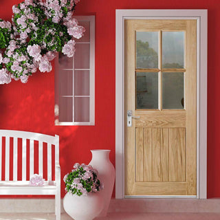 Image: Cottage 4L Exterior Oak Door - Clear Double Glazing