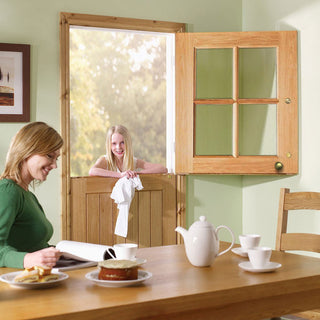 Image: Cottage Stable 4L External Oak Door - Clear Double Glazing