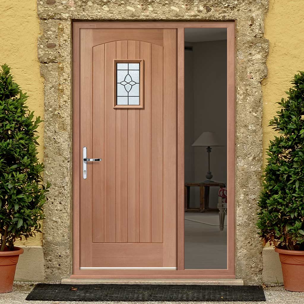 Cottage External Hardwood Door and Frame Set - Bevelled Tri Glazed - One Unglazed Side Screen, From LPD Joinery