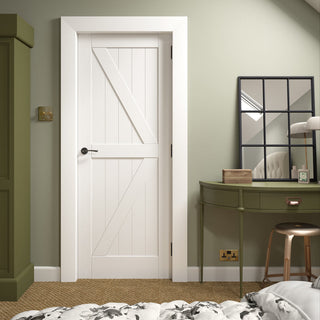 Image: Frame Ledge and Braced Cottage Door - White Primed