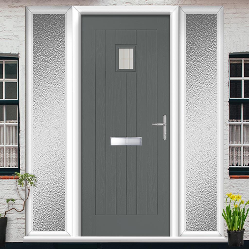 Country Style Aruba 1 Composite Door Set with Double Side Screen - Linear Glass - Shown in Mouse Grey