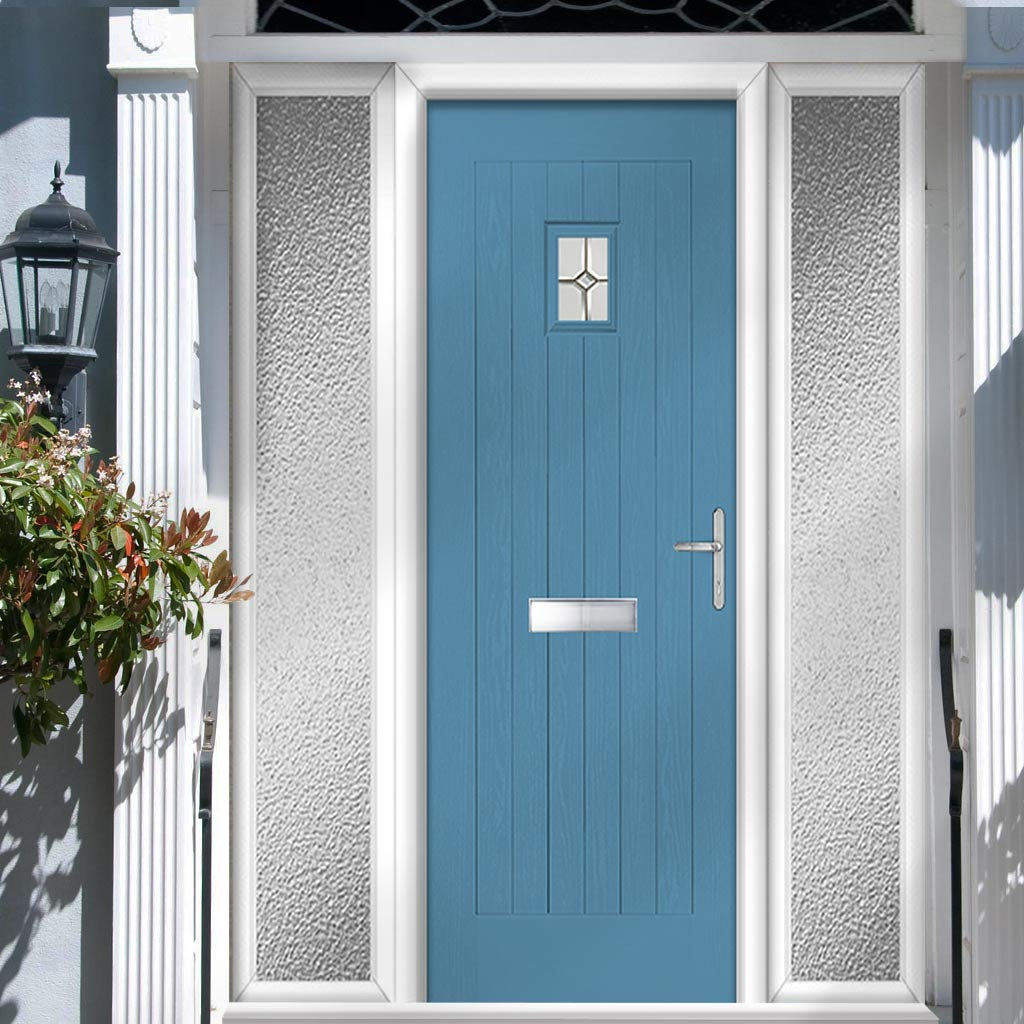 Country Style Aruba 1 Composite Door Set with Double Side Screen - Reflections Glass - Shown in Pastel Blue