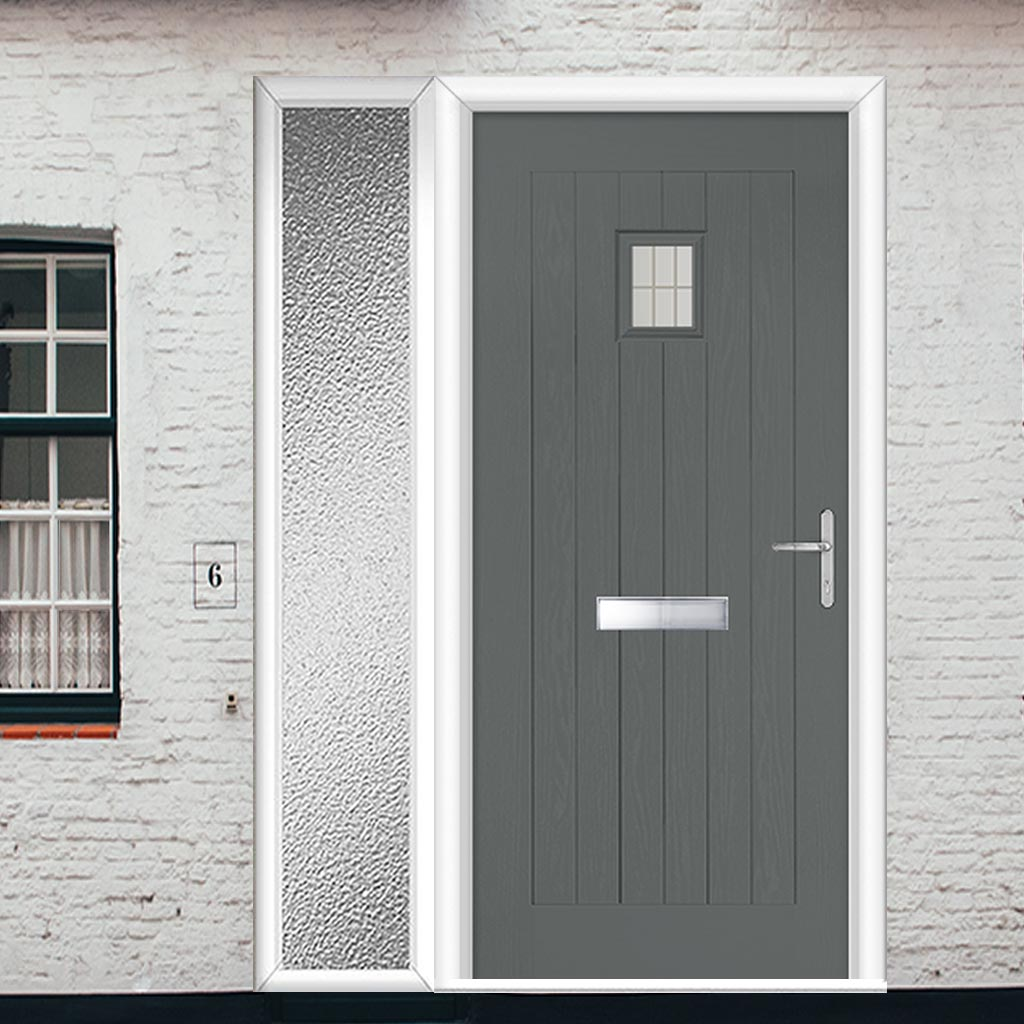 Country Style Aruba 1 Composite Door Set with Single Side Screen - Linear Glass - Shown in Mouse Grey
