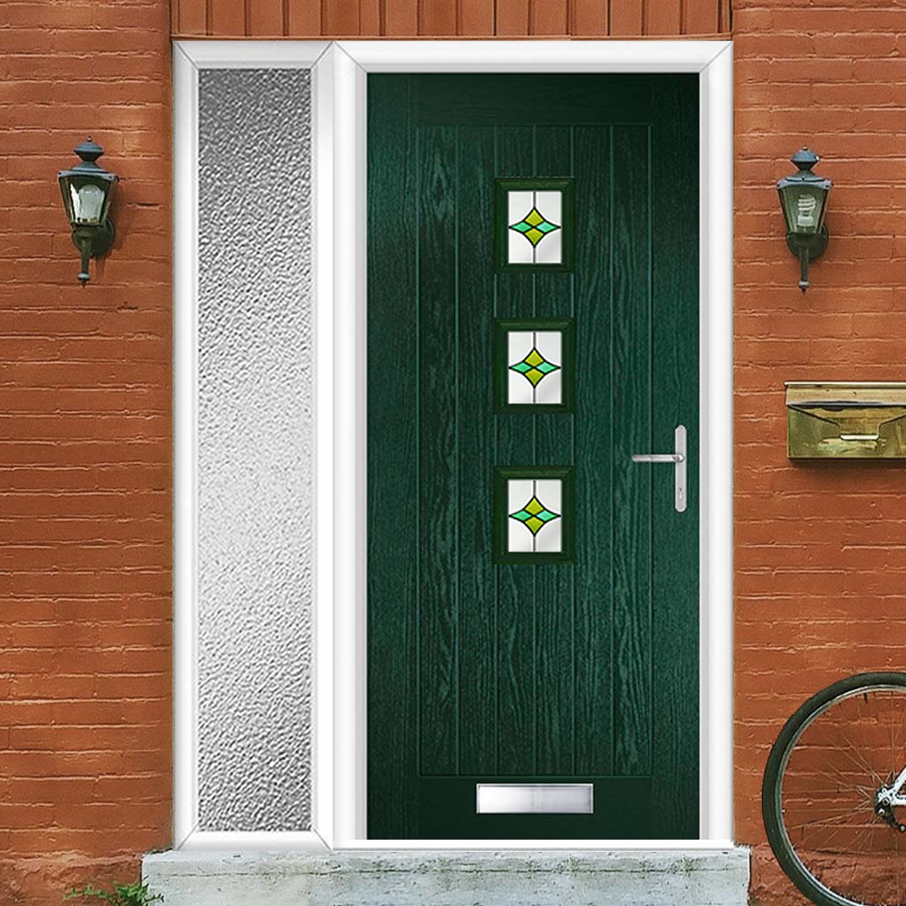Country Style Aruba 3 Composite Door Set with Single Side Screen - Central Laptev Green Glass - Shown in Green