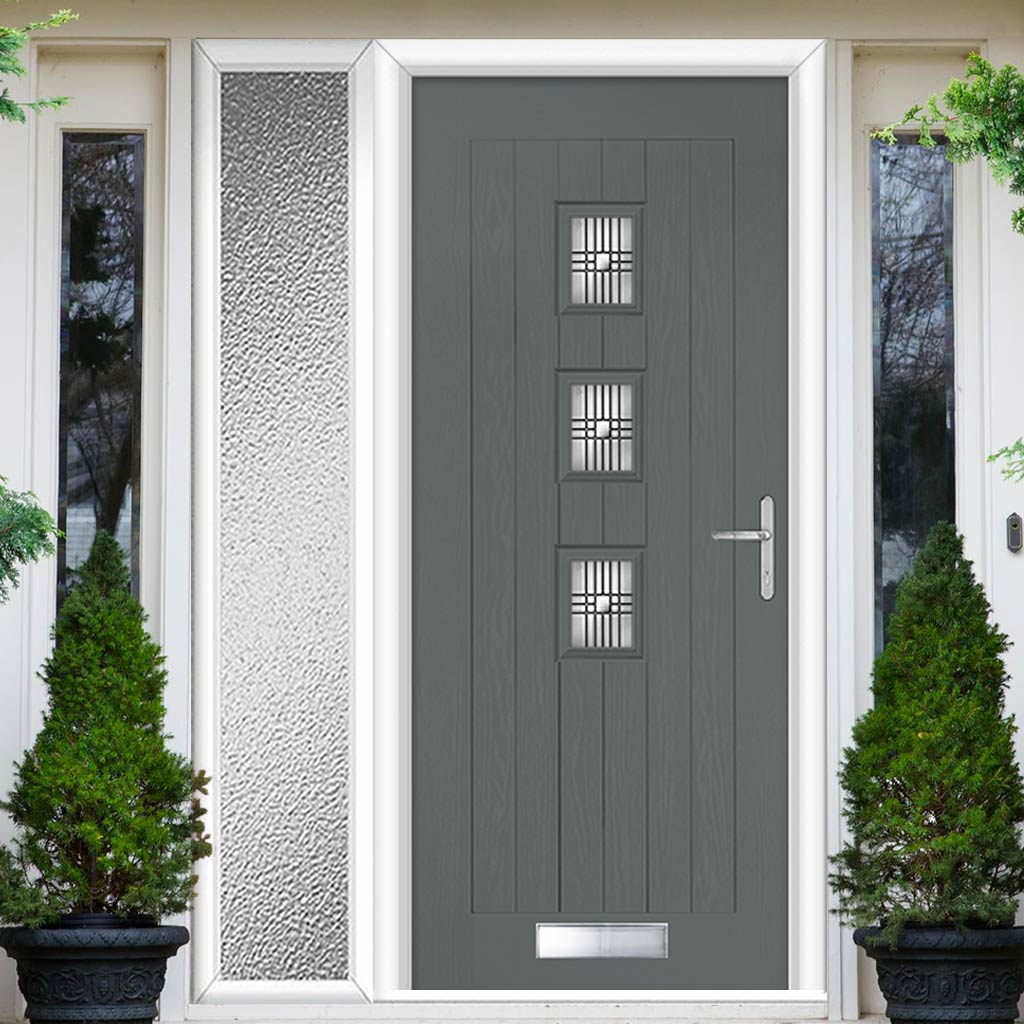 Country Style Aruba 3 Composite Door Set with Single Side Screen - Central Matisse Glass - Shown in Mouse Grey