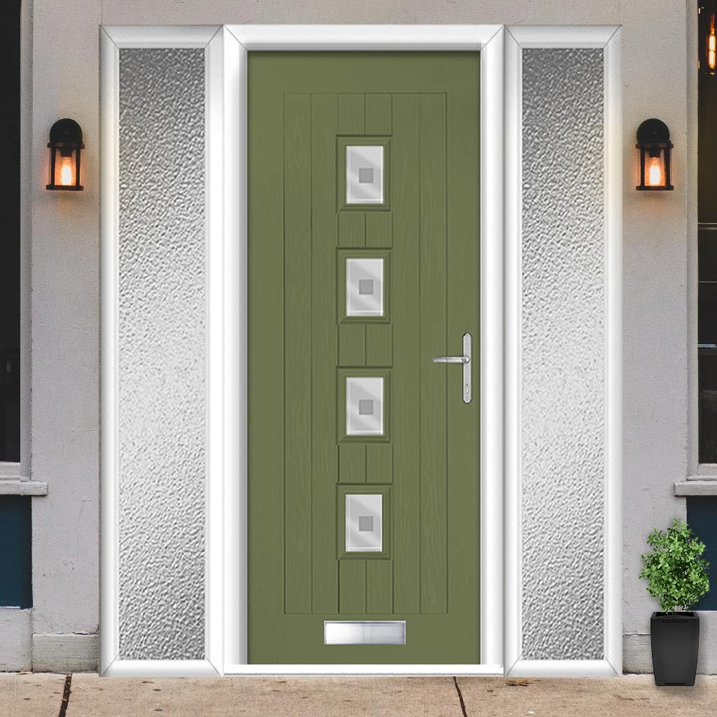 Country Style Aruba 4 Composite Door Set with Double Side Screen - Central Ellie Glass - Shown in Reed Green