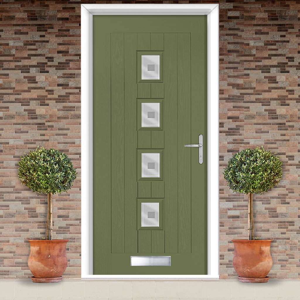 Country Style Aruba 4 Composite Door Set with Central Ellie Glass - Shown in Reed Green