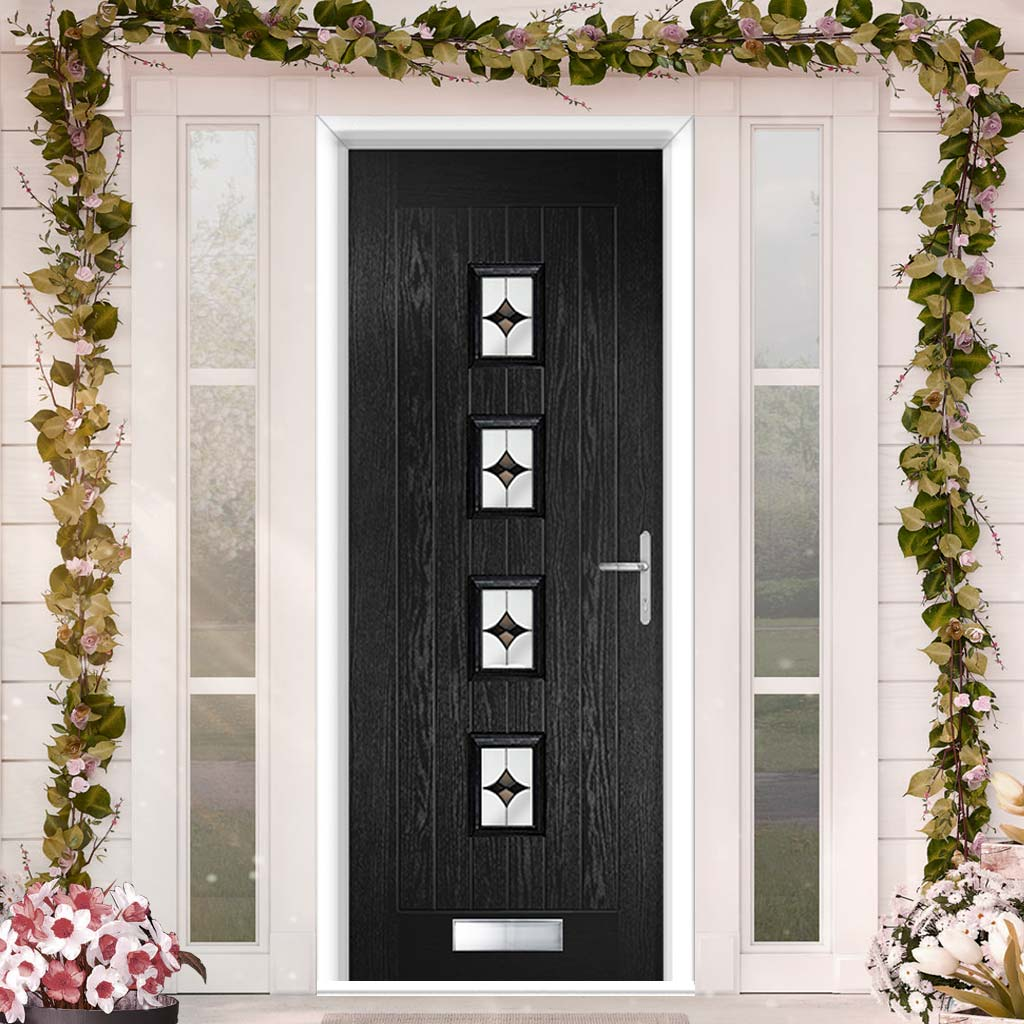 Country Style Aruba 4 Composite Door Set with Central Laptev Black Glass - Shown in Black