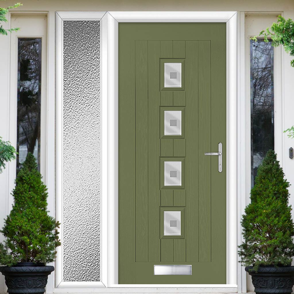 Country Style Aruba 4 Composite Door Set with Single Side Screen - Central Ellie Glass - Shown in Reed Green