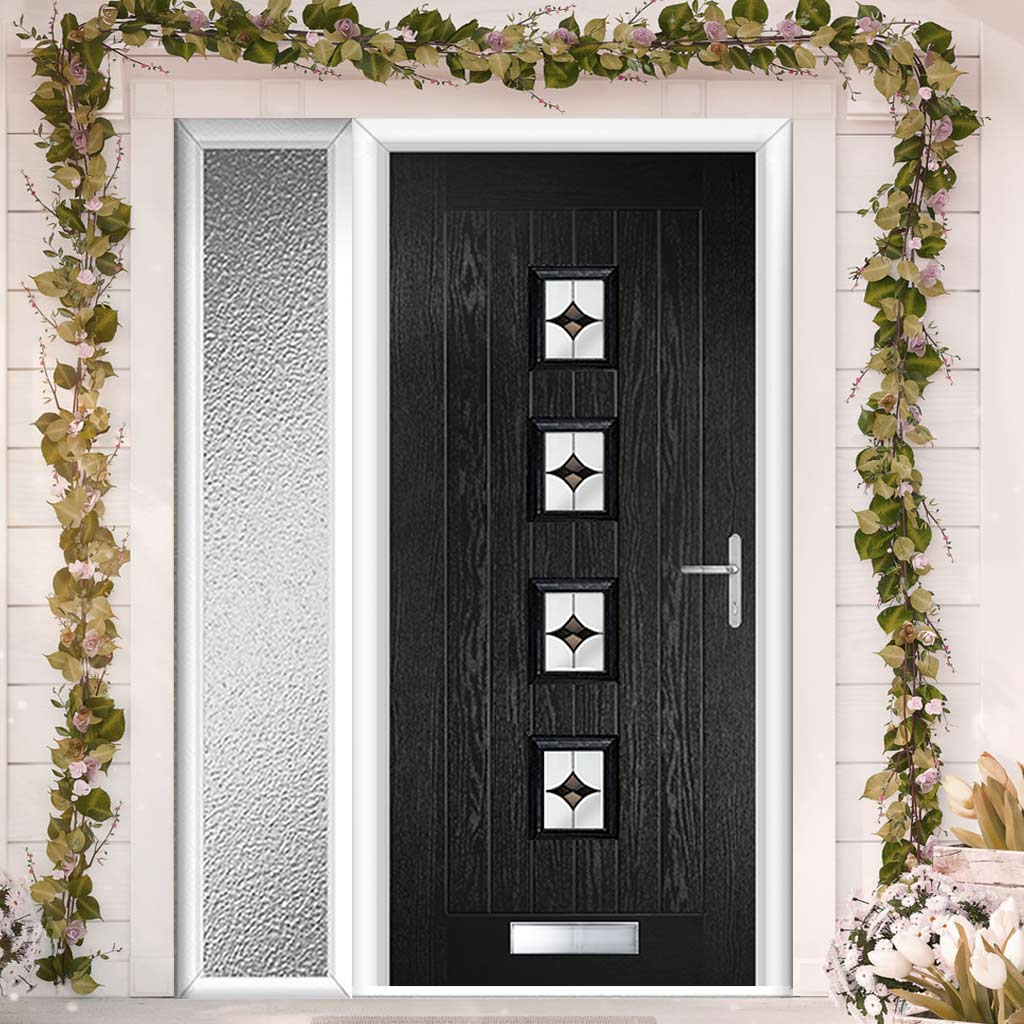 Country Style Aruba 4 Composite Door Set with Single Side Screen - Central Laptev Black Glass - Shown in Black