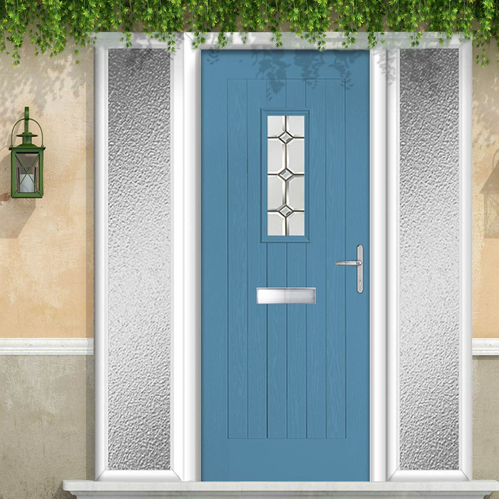 Country Style Catalina 1 Composite Door Set with Double Side Screen - Reflections Glass - Shown in Pastel Blue