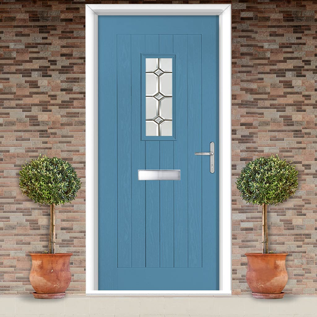 Country Style Catalina 1 Composite Door Set with Reflections Glass - Shown in Pastel Blue