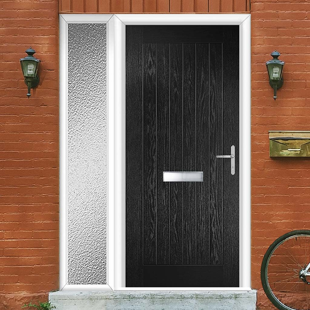 Country Style Composite Solid Door Set with Single Side Screen - Shown in Black