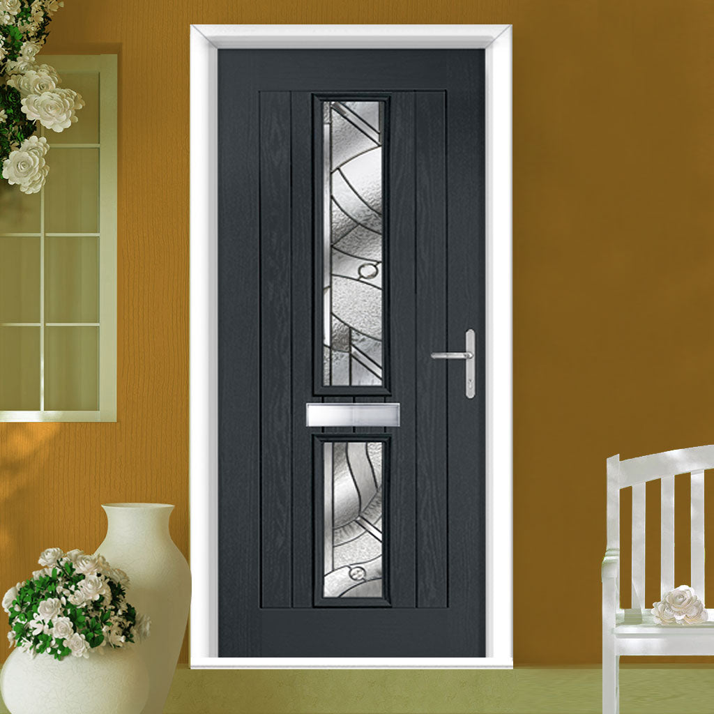 Country Style Debonaire 2 Composite Door Set with Central Abstract Glass - Shown in Anthracite Grey