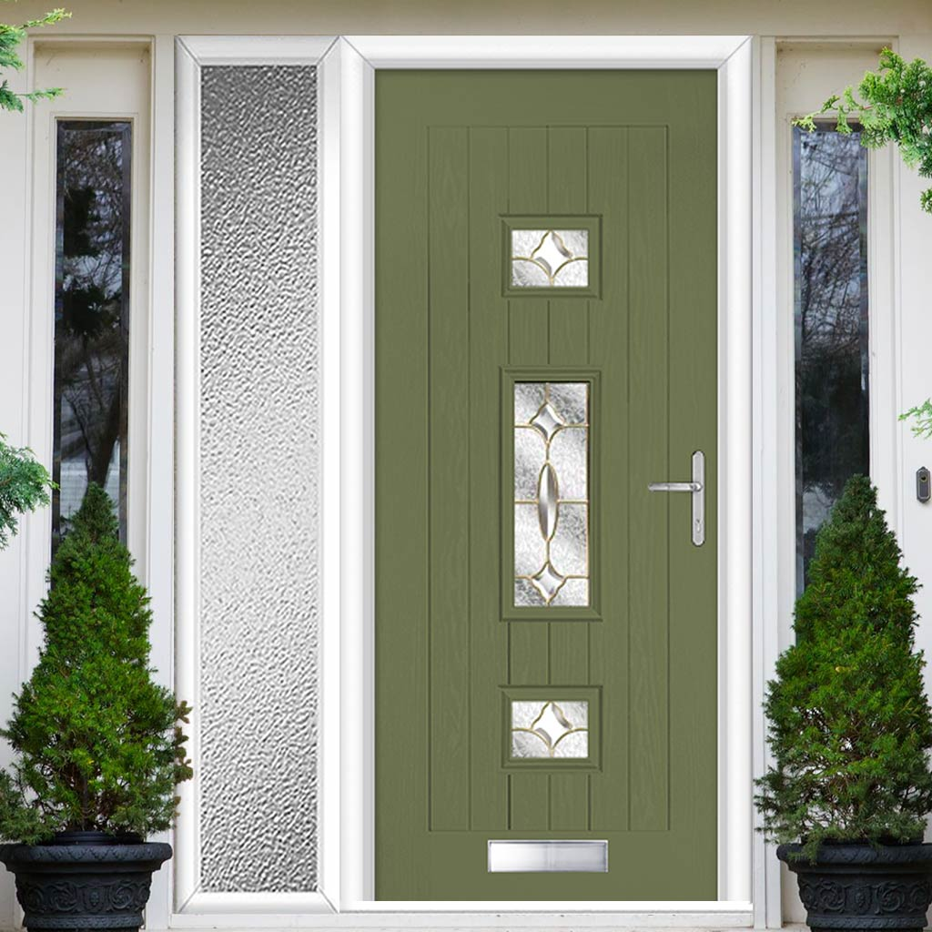 Country Style Firenza 3 Composite Door Set with Single Side Screen - Clarity Brass Glass - Shown in Reed Green