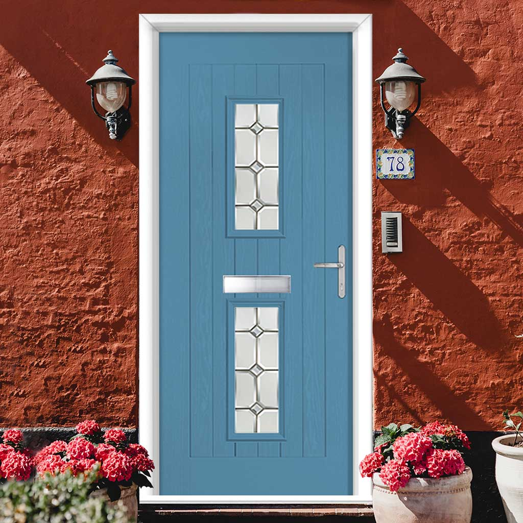 Country Style Seville 2 Composite Door Set with Reflections Glass - Shown in Pastel Blue
