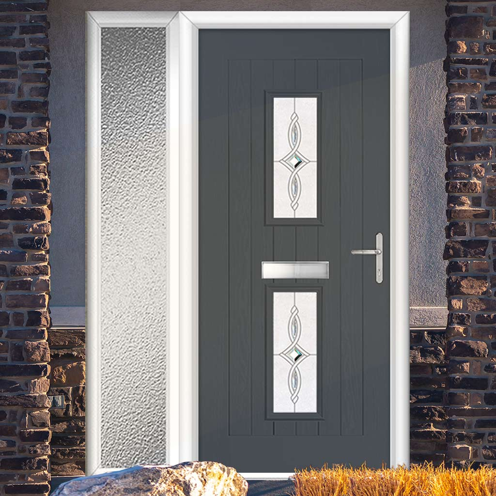 Country Style Seville 2 Composite Door Set with Single Side Screen - Pusan Glass - Shown in Slate Grey