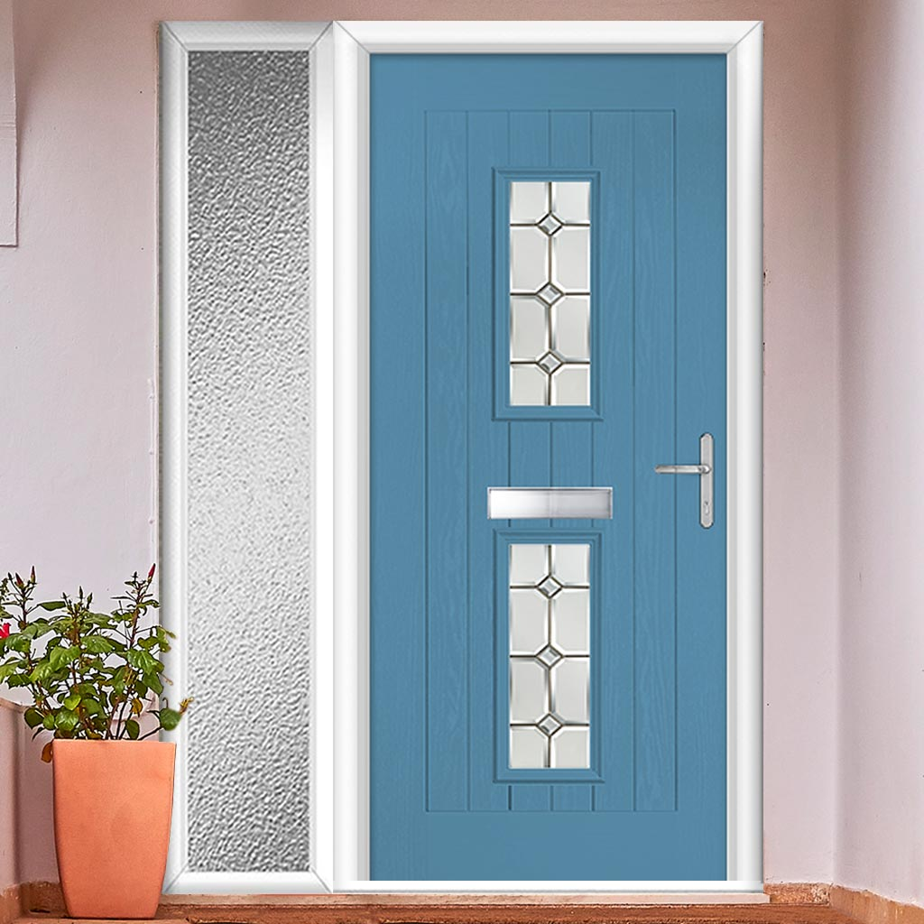 Country Style Seville 2 Composite Door Set with Single Side Screen - Reflections Glass - Shown in Pastel Blue