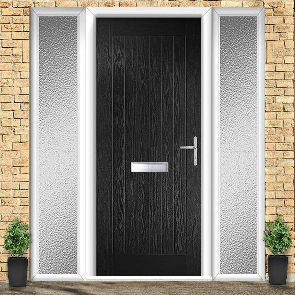 Country Style Composite Solid Door Set with Double Side Screen - Shown in Black