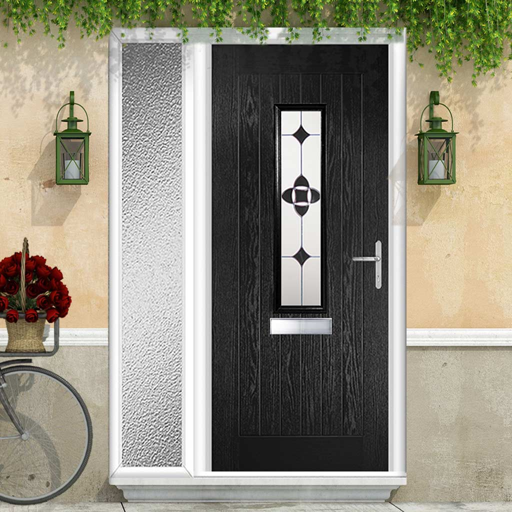 Country Style Tortola 1 Composite Door Set with Single Side Screen - Palopo Black Glass - Shown in Black