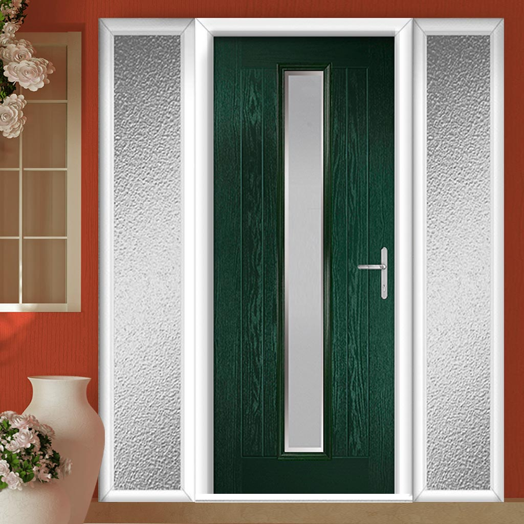 Country Style Uracco 1 Composite Door Set with Double Side Screen - Handle Side Ice Edge Glass - Shown in Green