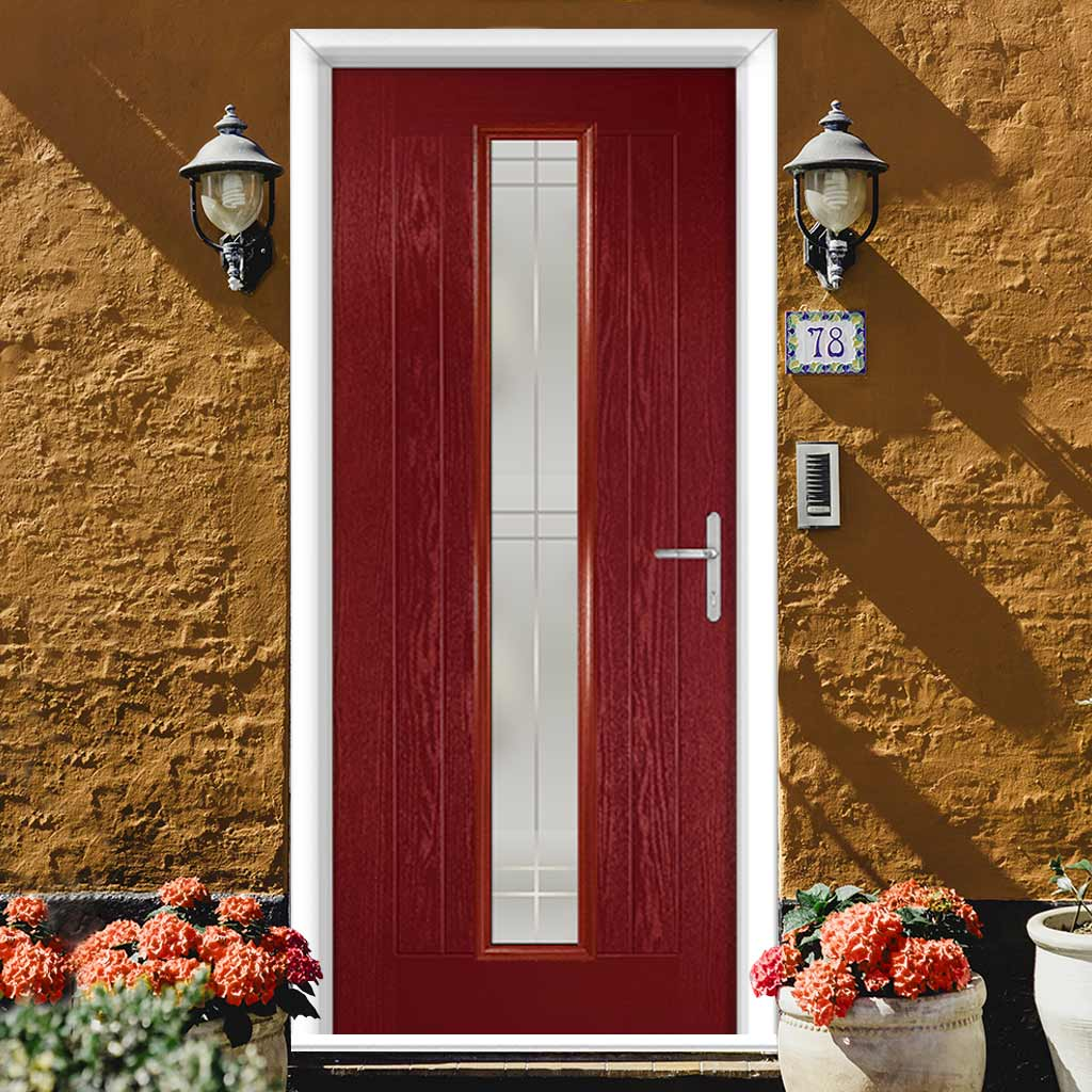 Country Style Uracco 1 Composite Door Set with Handle Side Linear Glass - Shown in Red