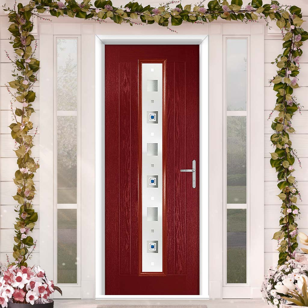 Country Style Uracco 1 Composite Door Set with Central Tahoe Blue Glass - Shown in Red
