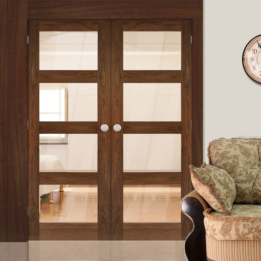 Coventry Walnut Prefinished Shaker Style Door Pair - Clear Glass