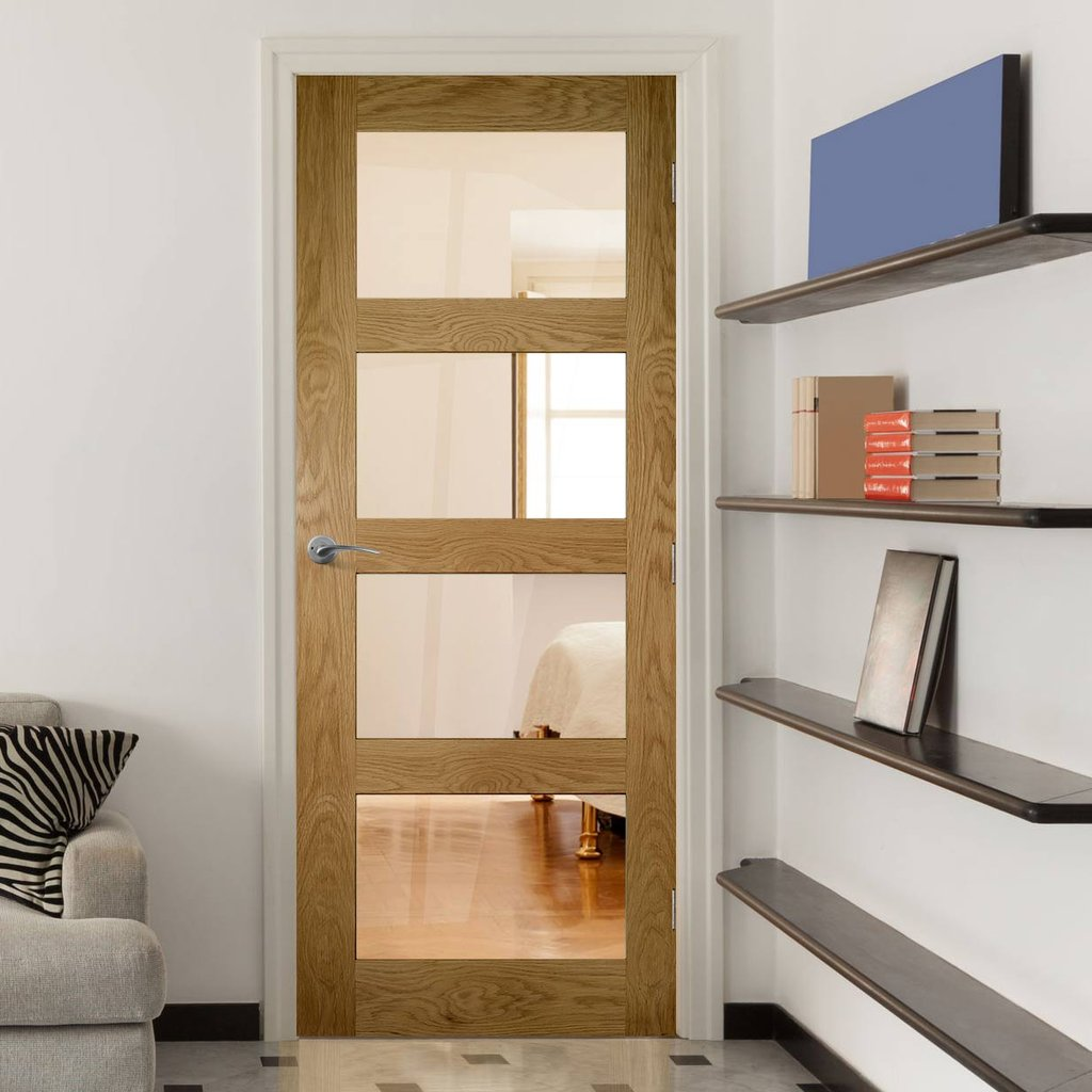 Coventry Shaker Style Oak Door - Clear Glass - Unfinished