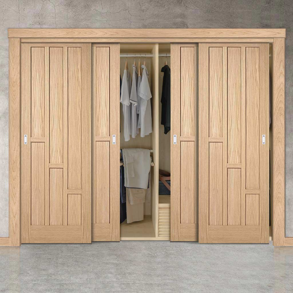 Minimalist Wardrobe Door & Frame Kit - Four Coventry Contemporary Oak Panel Doors - Unfinished