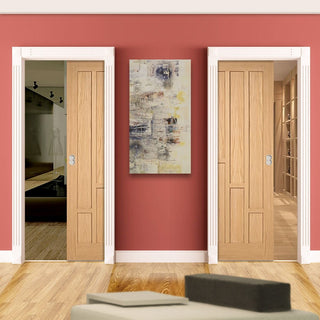 Image: Coventry Contemporary Oak Veneer Unico Evo Pocket Doors
