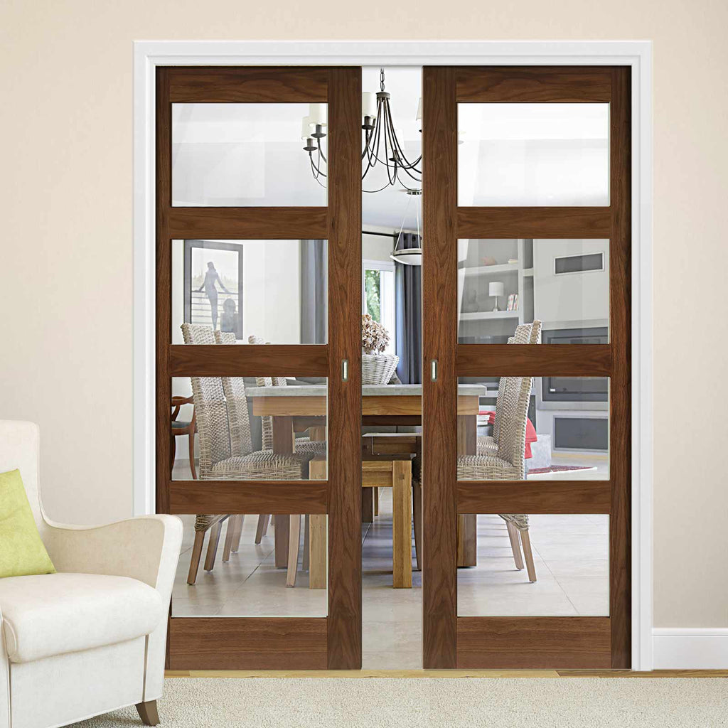 Coventry Walnut Shaker Style Double Evokit Pocket Doors - Clear Glass - Prefinished