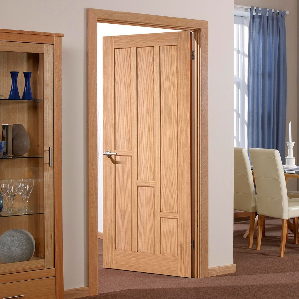 Fire Door, Coventry Contemporary Oak Panel - 30 Minute Fire Rated