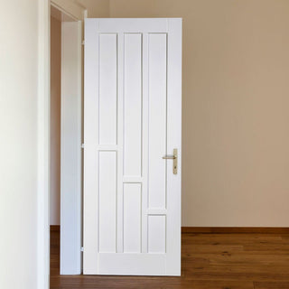 Image: Coventry Style White Primed Panel Fire Door, 30 Minute Fire Rated