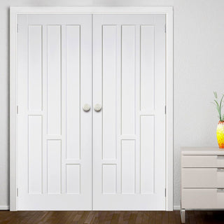 Image: Coventry Style White Primed Panel Fire Door Pair, 30 Minute Fire Rated