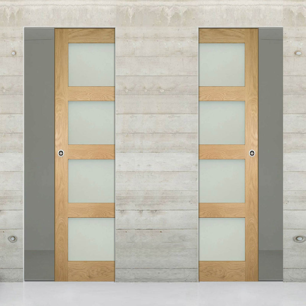 Coventry Shaker Style Oak Unico Evo Pocket Doors - Frosted Glass - Unfinished