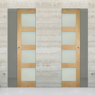 Image: Coventry Shaker Style Oak Unico Evo Pocket Doors - Frosted Glass - Unfinished