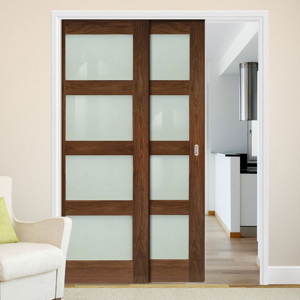 Coventry Walnut Veneer Shaker Style Staffetta Twin Telescopic Pocket Doors - Frosted Glass - Prefinished